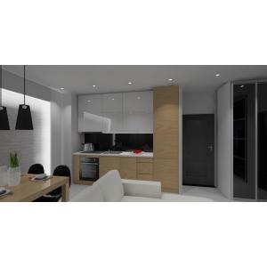 Mała kuchnia biała z drewnem, nowoczesne wnętrze,szafki górne białe do sufitu, lodówka w zabudowie