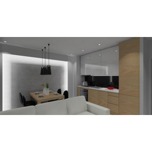 Mała kuchnia biała z drewnem, szafki górne białe do sufitu, lodówka w zabudowie, cegła biała na ścianie, ściana podświetlana led