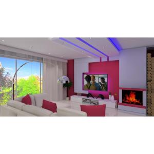 Salon nowoczesny, kominek, biała szafka RTV,nowoczesny sufir,ciekawa aranżacja ściany TV