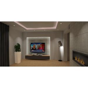 Beton w salonie, styl nowoczesny, telewizor z podświetleniem, kominek w betonie