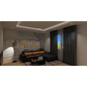 Fototapeta w salonie,dodatki pomarańczowe w salonie,podwieszany sufit