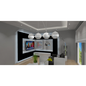 Nowoczesny salon biało szary, aranżacja ściany TV, nowoczesne oswietlenie w salonie