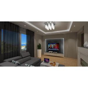 Podświetlana ściana TV w salonie