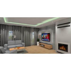 Nowoczesny salon, drewno, beton, kominek,aranzacja ściany TV z podświetleniem