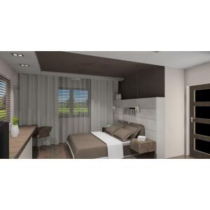 Nowoczesna sypialnia w kolorach białym i szarym, zabudowa nad łóżkiem,szafki nocne,brąowa narzuta na łóżko