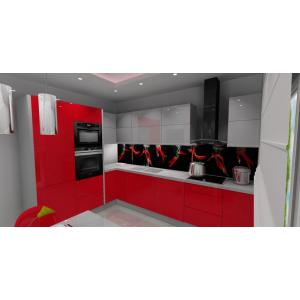Szaro-czerwona kuchnia, dolne szafki czerwone, górne szafki szare, na ścianie grafika na szkle papryczki, blat szary, sufit podwieszany z listwą led