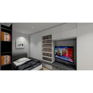 Zabudowa ściany telewizynej, białe meble