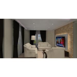 Nowoczesna aranżacja ściany TV z poświetleniem, kamień w salonie,białe sofy, meble w drewnie w salonie