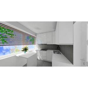 Kuchnia biała, płytki na podłodze szare, płytki na podłodze i na ścianie szare imitujące beton