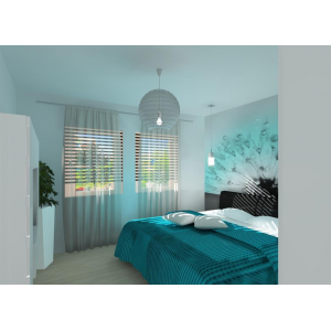 Nowoczesna sypialnia ,biała, turkus, fototapeta w sypialni,turkusowa narzuta na łózko