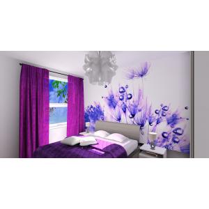Sypialnia nowoczesna, fiolet,biały, fototapeta w sypialni, szafki nocne,fioletowe zasłony,