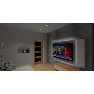 Beton w nowoczesnym salonie, pomysł na ścianę TV podświetloną,stojąca nowoczesna lampa