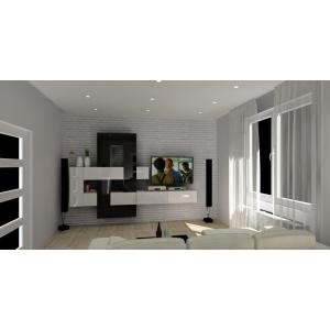 Salon z jadalnią w kolorze biały, czarny, meblościanka biało-czarna