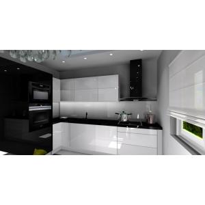 Projekt kuchni biało-czarnej w połysku, blaty czarne, szkło na ścianie, agd czarne, lodówka w zabudowie, szafki wysokie czarne, płytki na podłodze białe