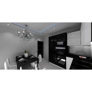 Projekt kuchni biało-czarnej w połysku, blaty czarne, szkło na ścianie, agd czarne, lodówka w zabudowie, sufit podwieszany, stół czarny połysk, krzesła białe