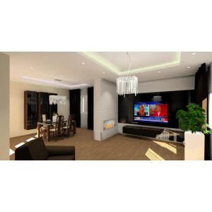 Projekt salonu z jadalnią w stylu glamour,czarne szkło na ścianie TV,nowoczesna lampa glamour,kominek w salonie,białe donice