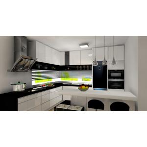 Kuchnia z wyspą biało-czarna, okno narożne panoramiczne