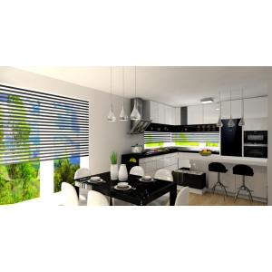 Kuchnia z wyspą biało-czarna, okno narożne panoramiczne, stół czarny, oświetlenie nad stołem maxlight