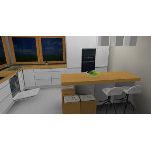 Aranżacja kuchni białej z drewnem, wyspa w kuchni, blat drewniany, okno narożne, hokery