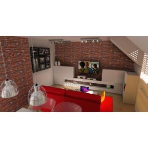 Salon na poddaszu, czerwona cegła na ścianie