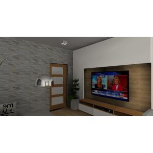 Drewno i biel w salonie, zabudowa ściany TV