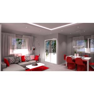 Salon w kolorach biały i czerwony
