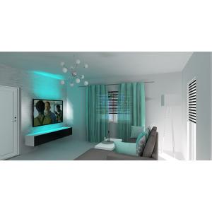 Salon nowoczesny, salon w kolorze biały, dodatki turkus