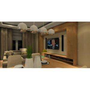 Nowoczesna zabudowana ściany TV z drewna, oświetlenie nad stół, beżowy narożnik