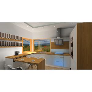 Nowoczesna kuchnia biała z drewnem, okno narożne, szafki białe, blat drewniany, blat wysuwany z szafki
