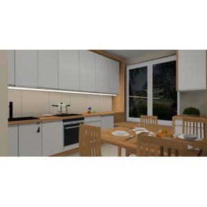 Kuchnia biała, drewno ecru, szafki do sufitu, białe, płytki na ścianie ecru, płytki na podłodze ecru, blat drewniany