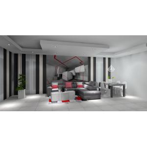 Nowoczesny salon biało szary, czerwony, nowoczesna tapeta 3D, beton w salonie, betonowy stolik kawowy, szare płytki w salonie