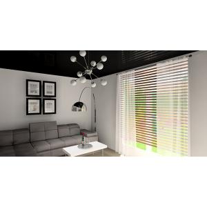 Nowoczesny salon biało-szary, czarny, sufit napinany w salonie czarny