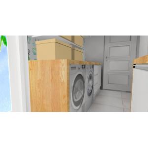 Nowoczesna pralnia w kolorach biały drewno,zabudowa pralki,