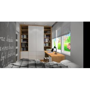 Zabudowa meblowa w pokoju młodzieżowym w kolorach biały ,drewno