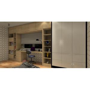 Pomysł na miejsce do przechowywania w pokoju dziecka, biała szafa, meble w drewnie, biurko pod oknem