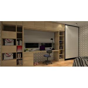 Pokój dla dziecka, biurko pod oknem, meble w pokoju dziecka,drewno, biały