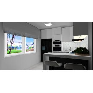Biało-szary projekt kuchni, szafki do sufitu, barek z miejscem do siedzenia