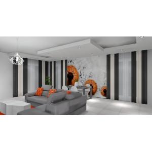 Fototapeta w salonie,podwieszany sufit,stolik betonowy,nowoczesna lampa