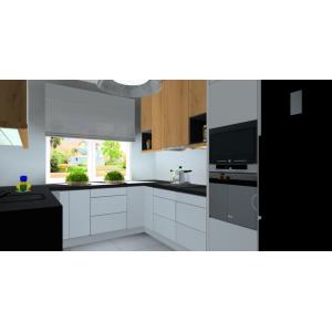 Biało-drewniane meble kuchenne, szafki kuchenne dole białe, górne szafki drewniane