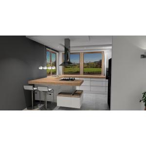 Kuchnia z wyspą, wyspa biała, blat drewniany, szafki na wyspie kuchennej, płytki na podłodze szare imitujące beton, okno narożne