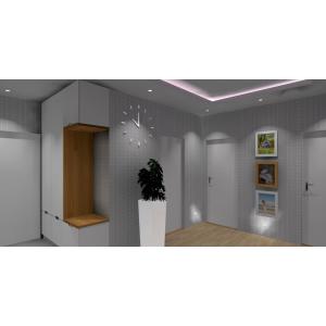 Pomysł na szafe z siedziskiem w przedpokoju,biała szafa z drewnem,białe donice nowoczesne, ramki ze zdjęciami w przedpokoju, szara tapeta