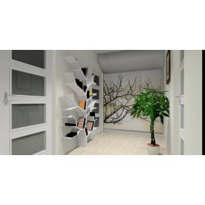 Nowoczesny przedpokój biały, szary, szafa z grafiką,nowoczesna półka drzewo w przedpokoju