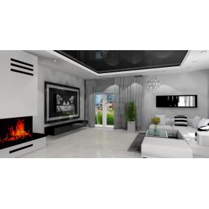 Salon nowoczesny, szary biały,stolik kawowy,narożnik biały,napinany sufit czarny