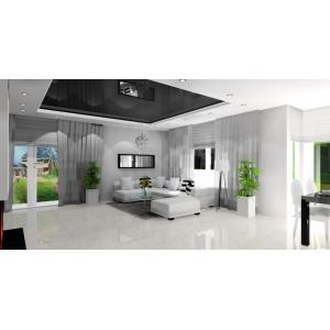 Salon biało czarny nowoczesny, biały naroznik,czarny stół, lustro w salonie, białe donice nowoczesne