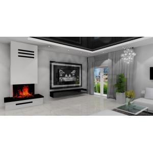 Salon w stylu glamou, kominek na ścianie telewizyjnej, kolory biały, czarny połysk