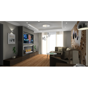 Nowoczesna fototapeta, kominek pod telewizorem, brązowe meble,oświetlenie w salonie