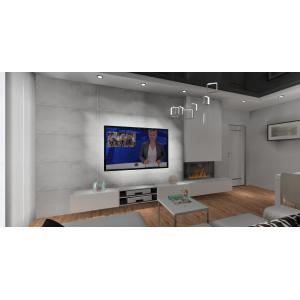 Beton w salonie, podwieszana szafka RTV, białe meble w salonie, kominek na ścianie RTV