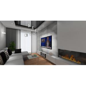 Zabudowa ściany RTV z kominkiem, białe meble, beton w salonie,duży narożnik, sufit podwieszany napinany czarny