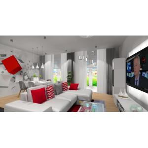 Salon w kolorze białym z dodatkami czerownymi, nowoczesne wnetrze salonu