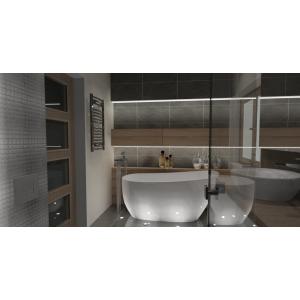 Aranżacja łazienki, styl nowoczesny, biały, szary, drewno